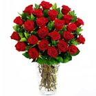 Magical Deep Red Roses in a Glass Vase