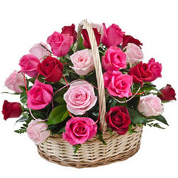 Brilliant Promise of Love 15 Pink N Red Roses Basket