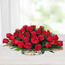 Expressive Red Roses with Fillers in Basket
