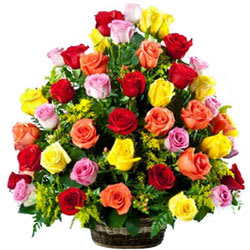 Touching Basket of Multicoloured Roses
