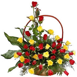 Prized Basket of Roses in Yellow N Red Colour