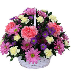 Tropical White and Pink Carnations and Roses Floral Basket