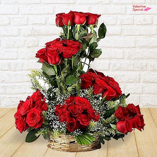 Send Red Roses Basket Arrangement for Rose Day