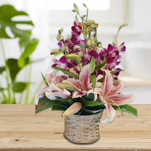 Buy Pink Oriental Lilies n Purple Orchids Arrangement