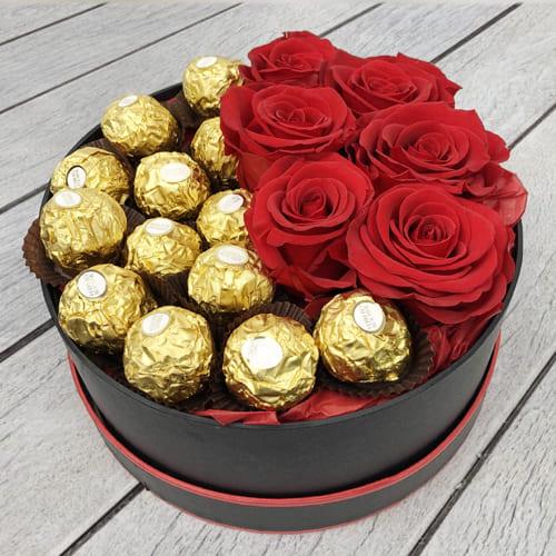Marvelous Ferrero Rocher n Red Roses Hat Box