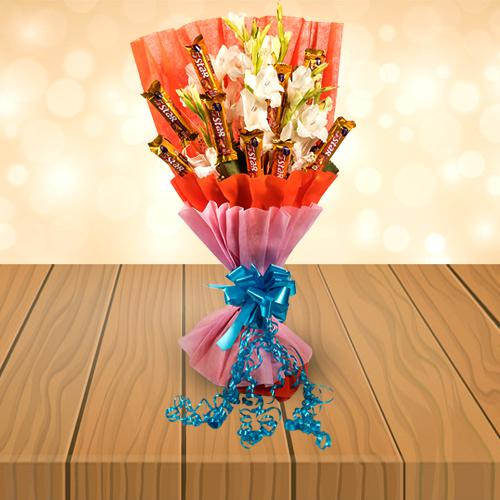 Amazing Bouquet of Gladiolus N Cadbury 5 Star