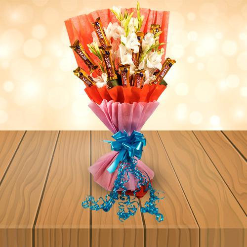 Amazing Bouquet of Gladiolus N Cadbury 5 Star