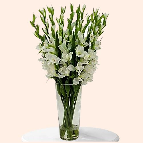 Exclusive White Gladiolus in a Glass Vase