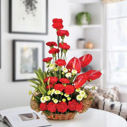Amusing Arrangement of Red Carnations n Anthodium