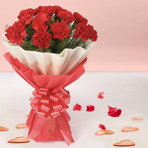 Just buy a premium Hand Bunch of Red Carnations in tissue