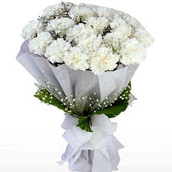 Buy this premium Bouquet of White Cranations in a tissue wrap