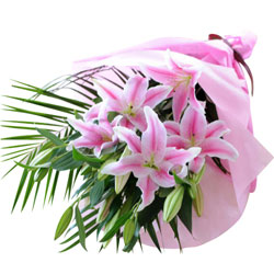 Designer Bouquet of Pink Lilies wrapped in a Tissue