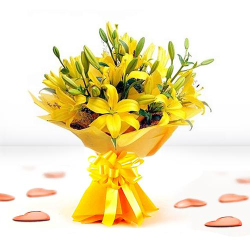 Sun-Kissed Yellow Lilies Bouquet