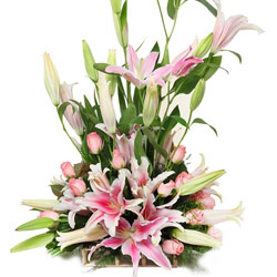 Majestic Table Top Arrangement of Pink Lilies with Pink Roses