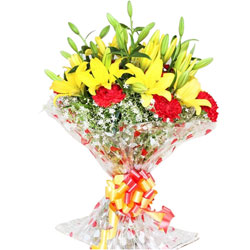 Expressive Yellow Lilies N Red Carnations Bouquet