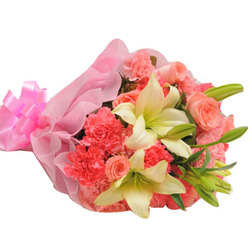Charming Bunch of Lily Stems with Pink Roses & Pink Carnations