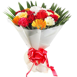 Lovely Gerberas, Carnations & Roses Bunch