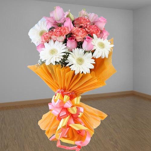 Vibrant Roses, Carnations & Gerberas Bunch