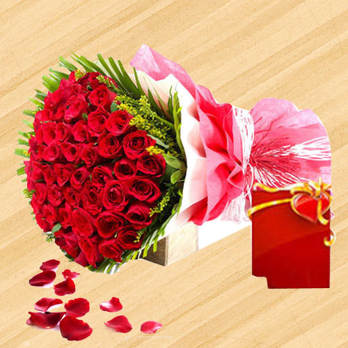 Shimmering Beauty Red Roses Bouquet
