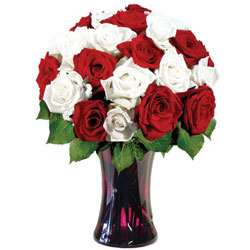 Captivating White N Red Color Roses in a Glass Vase