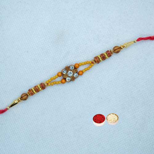 Auspicious Rakhi with Colorful Beads