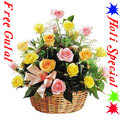 Send 24 Colourful Roses Arrangement with with greens and fillers to show your love and affection with free Gulal/Abir Pouch. to Kerala