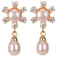 Enthralling Floral Shaped AD Stud Pearl Earrings <br>