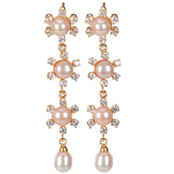 Mesmerizing 3 Drop Pearl Earrings Studded with AD Stones