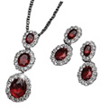 Gorgeous Triple Oval Pendant and Earrings Set by Avon