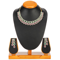 Shining Spectacle Necklace with Earrings Set