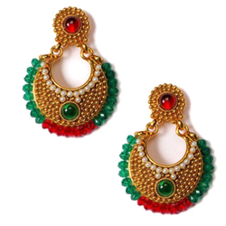 Gorgeous Golden Earring Set with Green N Red Beads