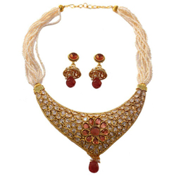 Exquisite Necklace Set in Kundan Design