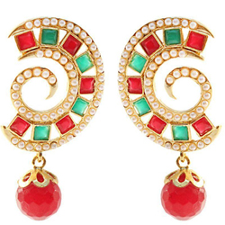 Glamorous Earring Set with Red N Green Stones