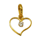 Alluring American Diamond Studded Heart-shaped Gold Pendant from Anjali (22K)