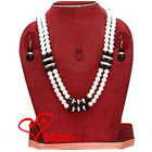Designer Double Row Pearl Jewelry with American Diamonds and Black Stones Necklace Set with Matching Earrings