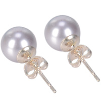 Blue Hued Genuine Pearl Tops Earrings Set