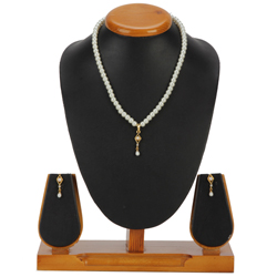 Dazzling Imitation Pearl Pendent Set with Earring