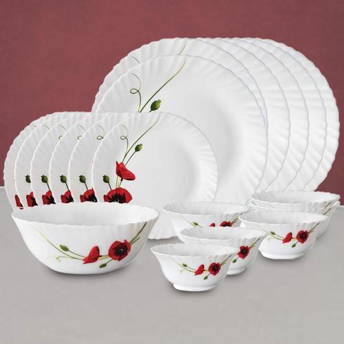 Remarkable Larah by Borosil Red Carnations Dinner Set