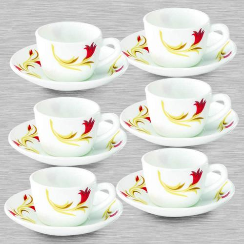 Attractive Larah By Borosil Red Lily Cup and Saucer Set