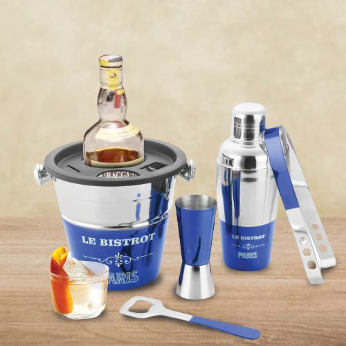 Luxurious Blue Lacquered Bartender Tool Set