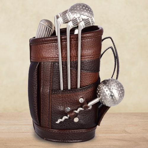 Splendid Stainless Steel Golf Bar Set with Leatherette Bag