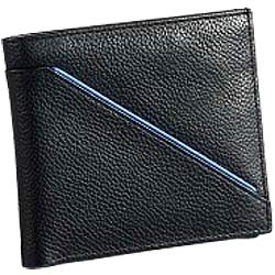 Order Leather Gents Wallet in Black with Blue Leather Stripe