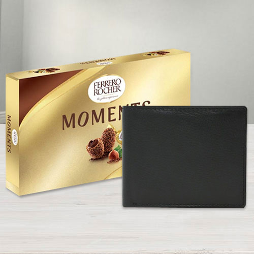 Astonishing Leather Wallet with Ferrero Rocher Chocolates for Gents