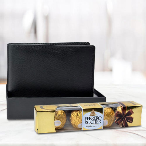 Breathtaking Black Leather Wallet with Ferrero Rocher Chocolate