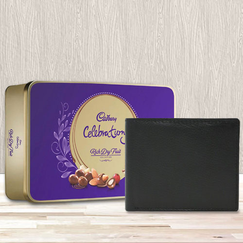 Elegant Black Leather Wallet with a Cadbury Rich Dry Fruits Chocolate