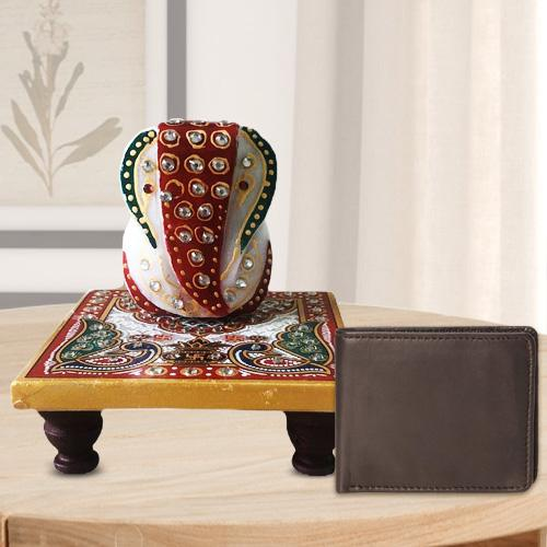 Pious Ganesh Marble Chowki with a Leather Wallet for Gents