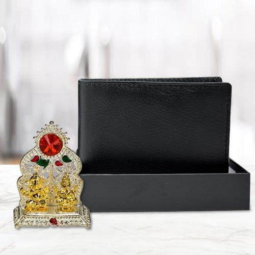 Auspicious Ganesh Laxmi Mandap with a Black Wallet for Gents