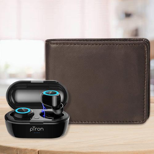 Glamorous Mens Leather Wallet with PTron Bluetooth Earbuds