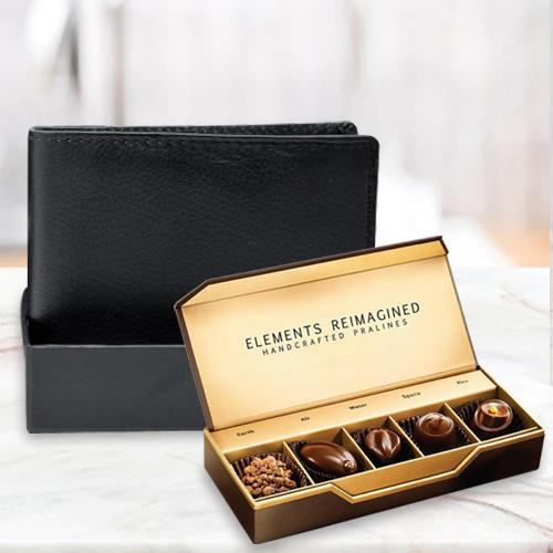 Extravagant Rich Born Black Leather Wallet with ITC Elements Premium Handcrafted Chocolates