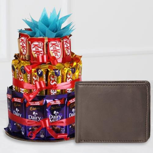 Exquisite Leather Wallet for Boys with a 3 Tier Chocolate Arrangement